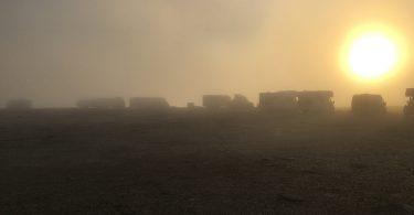 Das Nordkap-Plateau im Nebel versunken