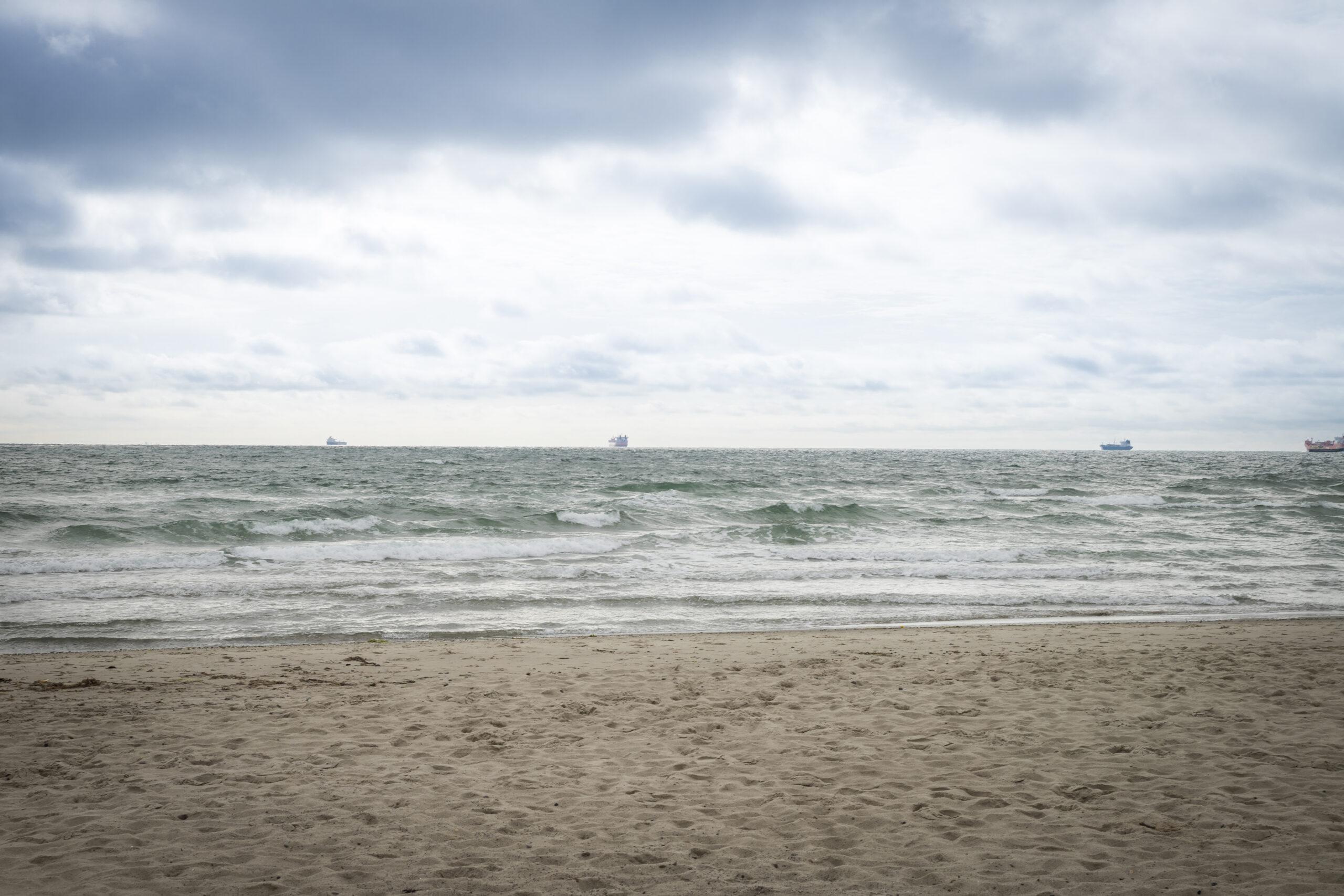 Dänische Ostsee mit Schiffen